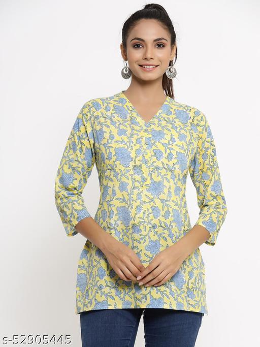 Kipek women's Self Desgin Rayon fabric Short Kurta yellow color