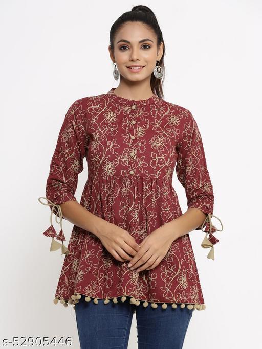 Kipek women's Self Desgin Rayon fabric Short Kurta maroon color