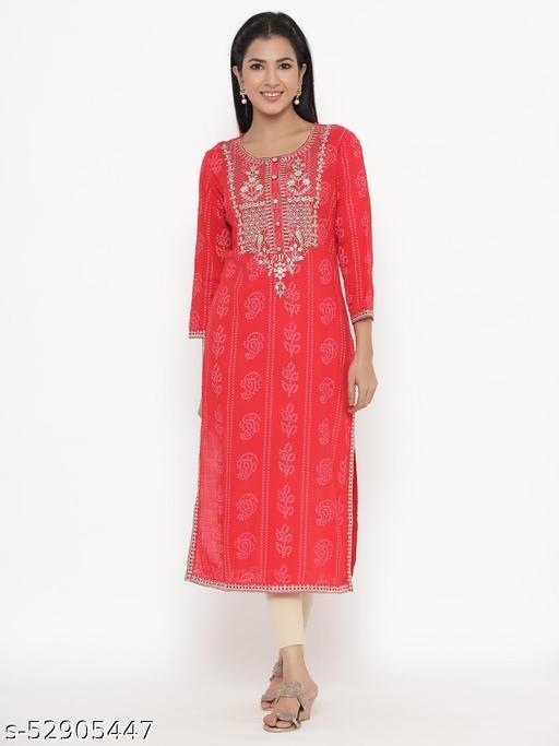 Kipek women's Self Desgin Rayon fabric Straight Kurta RED color