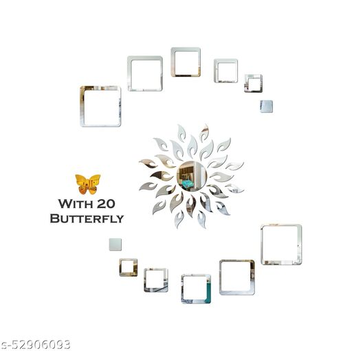 Look Decor® Sun Flame 12 Square Silver With 20 Butterfly Golden 3D Acrylic Mirror Wall Sticker Decoration for Kids Room/Living Room/Bedroom/Office/Home Wall.