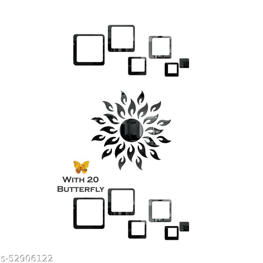 Look Decor® Sun Flame 12 Square Black With 20 Butterfly Golden 3D Acrylic Mirror Wall Sticker Decoration for Kids Room/Living Room/Bedroom/Office/Home Wall.