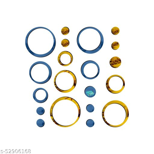 Look Decor® 20 Ring And Dots Blue Golden 3D Acrylic Mirror Wall Sticker Decoration for Kids Room/Living Room/Bedroom/Office/Home Wall.