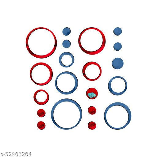 Look Decor® 20 Ring And Dots Red Blue 3D Acrylic Mirror Wall Sticker Decoration for Kids Room/Living Room/Bedroom/Office/Home Wall.