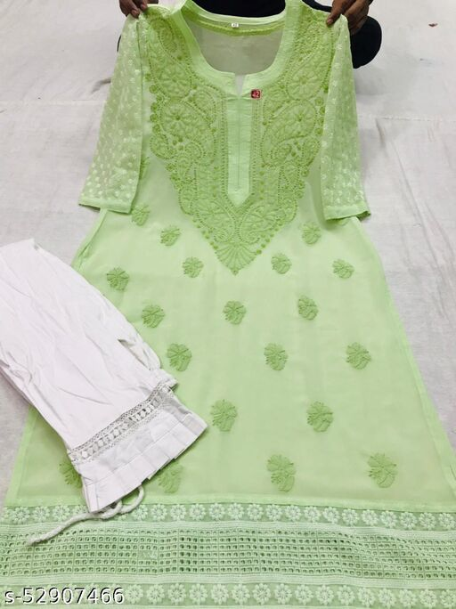 georgette kurti with frills lycra pant