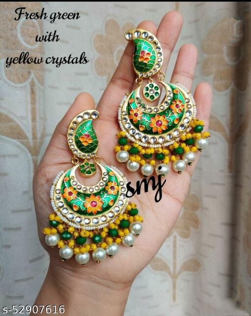 Pure Brass Meenakari Chand Earring with colourful beads cluster