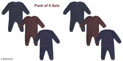 Boys|Girls Body Warmer Thermal Winter Wear (Top + Bottom) Multi-Color(Set of 6)