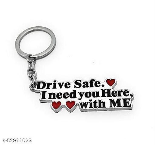 Riddhi Siddhi Drive Safe Metal Keychain (Silver/Black)
