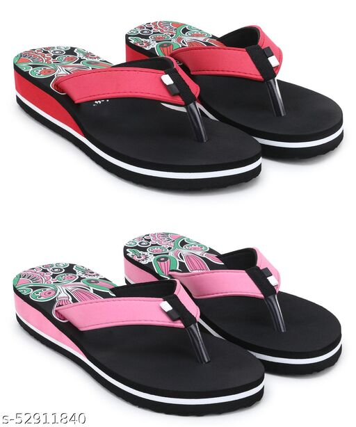 Stylish & Comfortable Red, Pink Suede Heeled Slippers / Flip Flop for Women and Girls