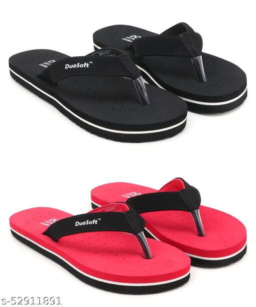 Stylish & Comfortable Black, Red Suede Doctor Slippers / Flip Flop for Women and Girls
