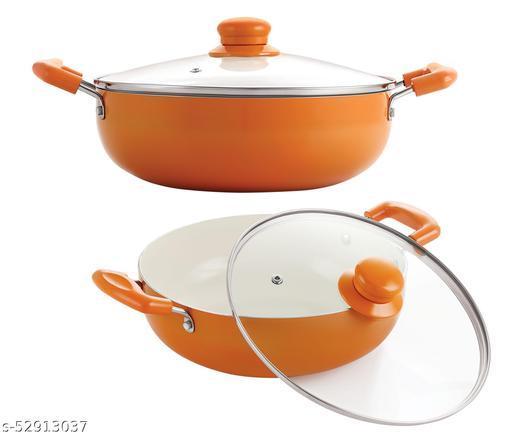 Nirlon Orange Aluminium Ceramic Coated Non-Stick Induction Based Kadhai 20 CM & Kadhai 24 CM Combo Set