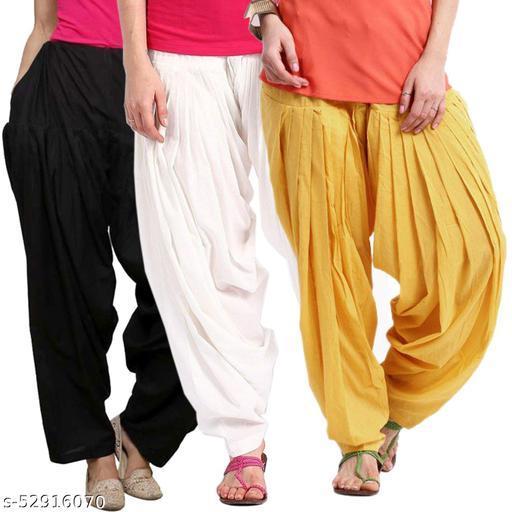 BelleVie Cotton Salwar for Women And Girls_Free Size_Black , White , Yellow