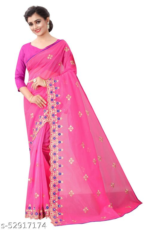 Women's Bollywood Designer Pink Colored Net Embroidered Party Wear Saree