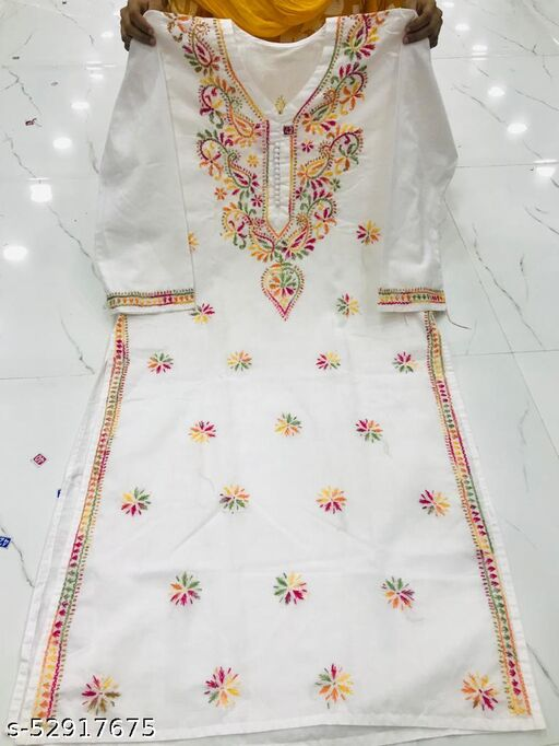 cotton multi chikan handwork kurti