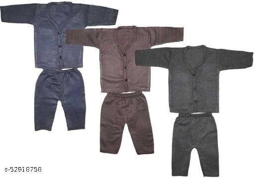 kids boy & girl button suit thermal winter wear (top + bottom set of 3 )