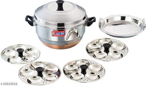 Eurostyle 20 Idli Cooker Compact Copper Bottom Idly Maker ( 5 Plates )