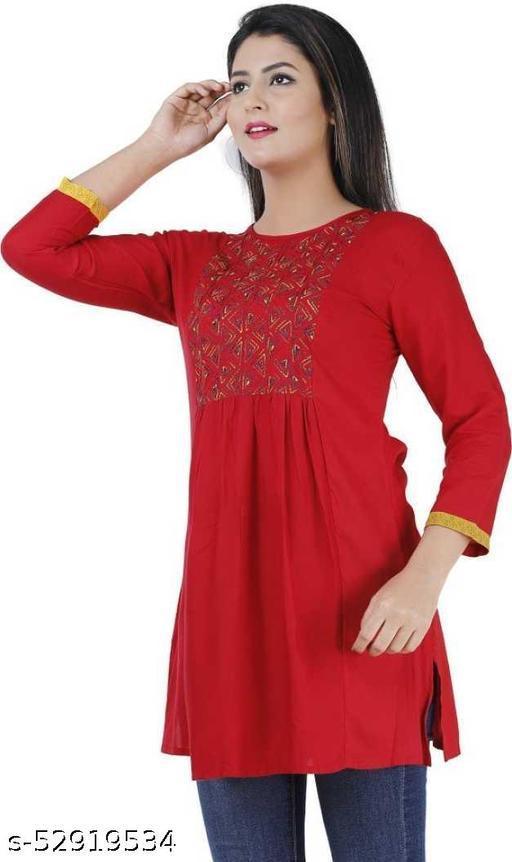 Women Embroidered Rayon Straight Kurta  (Red)