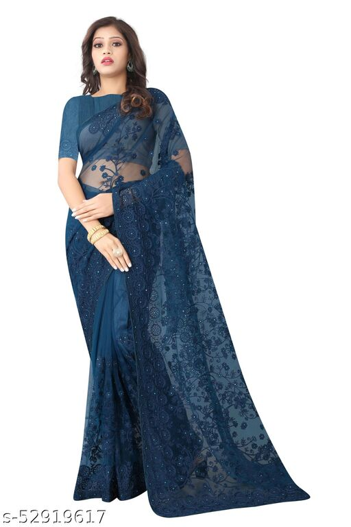Women's Bollywood Designer Navy Blue Colored Net Embroidered Party Wear Saree