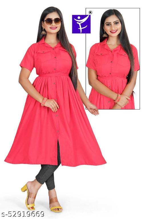 cotton notched collar kurti