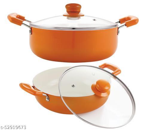 Nirlon Orange Aluminium Ceramic Coated Non-Stick Induction Based Kadhai 22 CM & Casserole 20 CM Combo Set