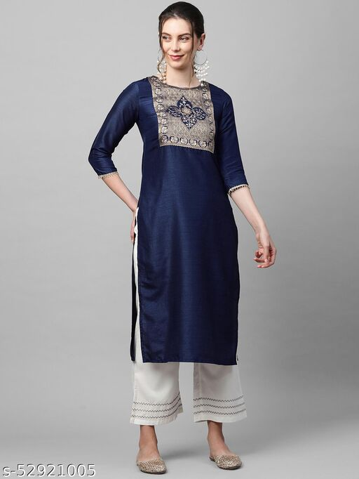 Indo Era Navy Solid Blue Straight Kurta