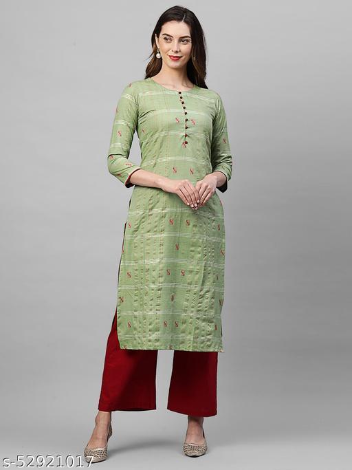 Indo Era Green Woven Kurta