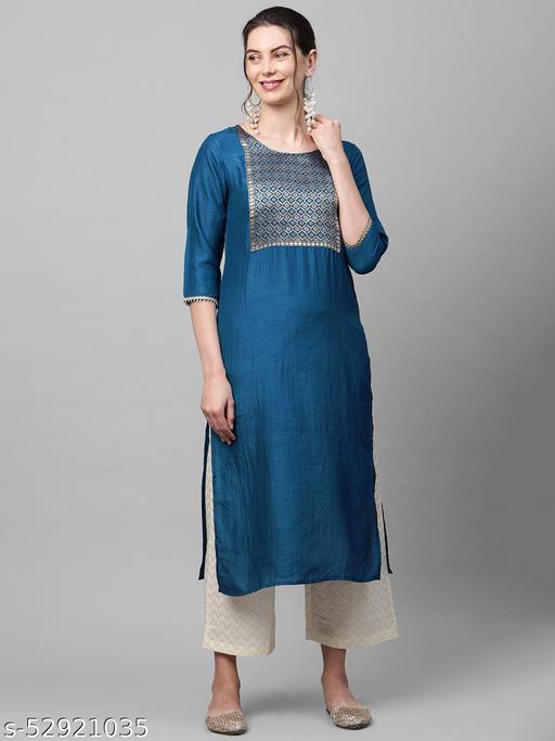 Indo Era Blue Solid Straight Kurta