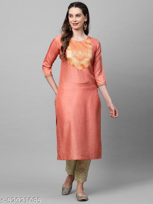 Indo Era Peach Solid Straight Kurta