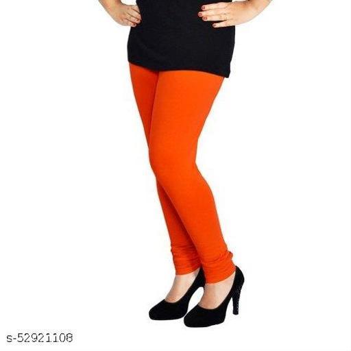 Evillive Women's Leggings Cotton Lycra Four Way Stretchable Skin Fit Ankle Length Leggings Orange color