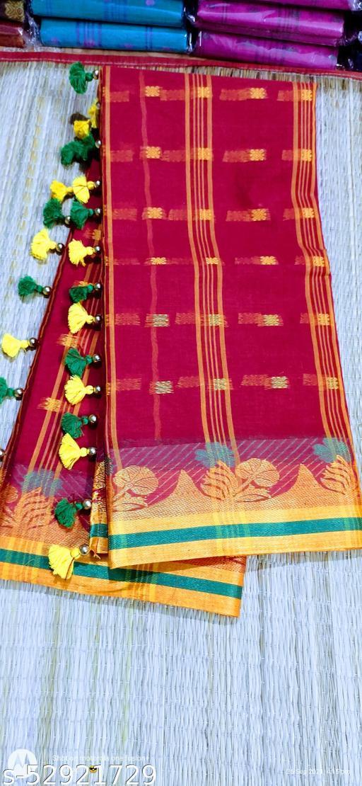 Bangali taant saree with pallu pompom.