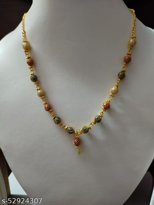 Necklace with artificial beads & stones