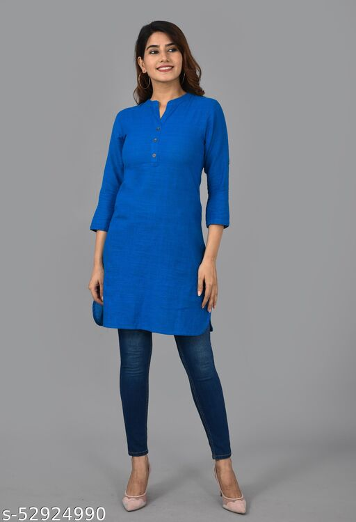 Women SOLID Cotton Blend Straight Kurta  (BLUE)