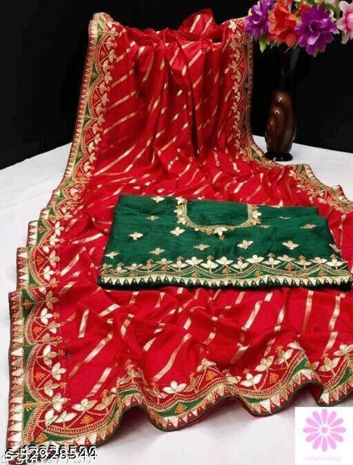 JJ Women's Dola Silk Leheriya Style Gota Patti Work Blouse Work