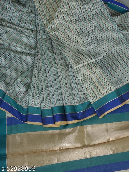 SRiSHTi's Exclusive Chanderi Bengal Cotton Handloom Saree With Blouse Piece (Off White)