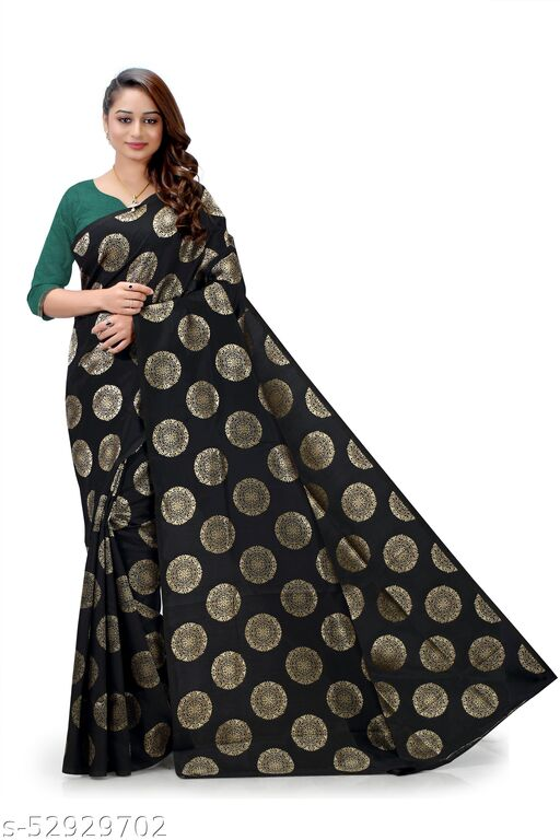 Beautiful silk Saree Black with green blouse