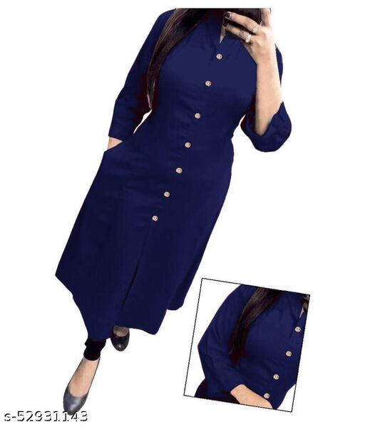 VED CREATION Women's Cotton Kurti With Show Button