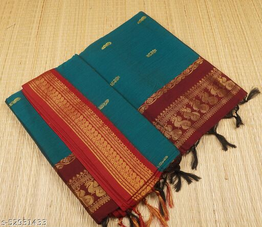 SRT Best selling  & 100% premium quality Traditional & Trendy Gadwal Kalyani cotton butta saree with running blouse