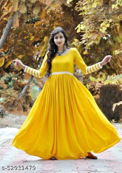 New Embroidered full sleeve yellow rayon gown kurtis