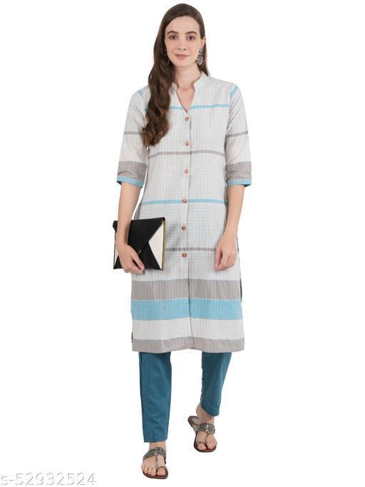 Ashnaina White checked and stripe kurta with turquoise trouser
