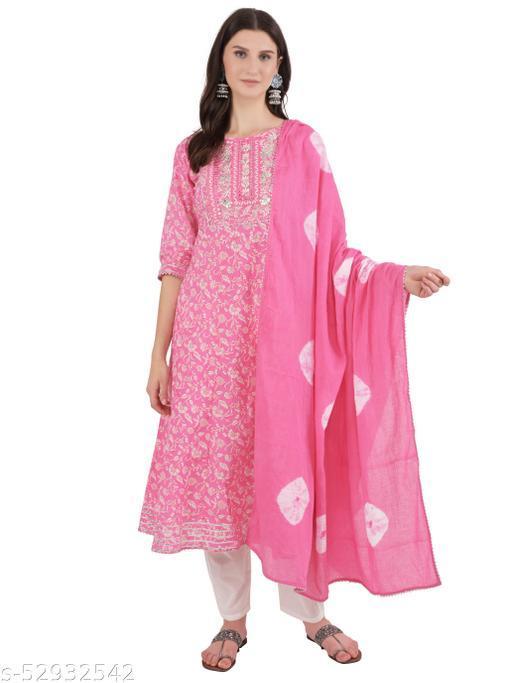 Ashnaina pink printed flared kurta with Trousers and dupatta