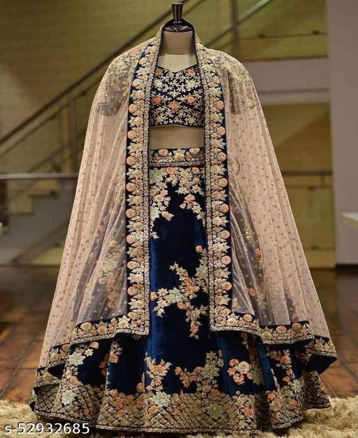 Neavy Blue Colored Partywear Designer Embroidered Velvet Materal Lehenga Choli-LC53