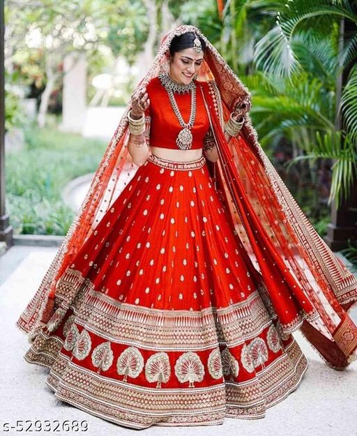 RED COLORED PARTYWEAR DESIGNER EMBROIDERED MALAY SATIN NEW SILK MATERIAL LEHENGA CHOLI-LC251