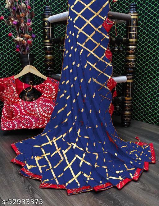 Blue Cotton Silk Bandhej Bandhani Printed Saree (fancy net silk embroidery sadi latest new designer party wear bandhani printed daily wedding bollywood red pink blue green orange chiku purple)