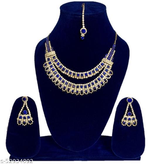 Aavi Women Blue CZ Necklace Maang Tikka Earring Set Bridal Wear Jewellery Set