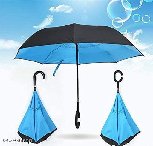 Double Layer Inside Out Folding UmbrellaC-Shaped Handle