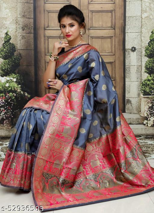 UA CREATION Camel Paithani Beautiful Soft Pure Banarasi Silk Saree With Beautiful Weaving Rich Pallu