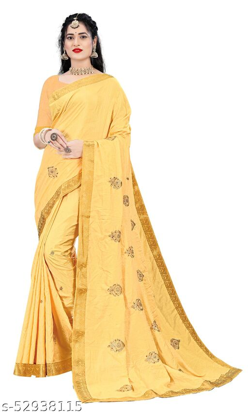 Padmalata Creation Yellow  Saree With Designer Border.