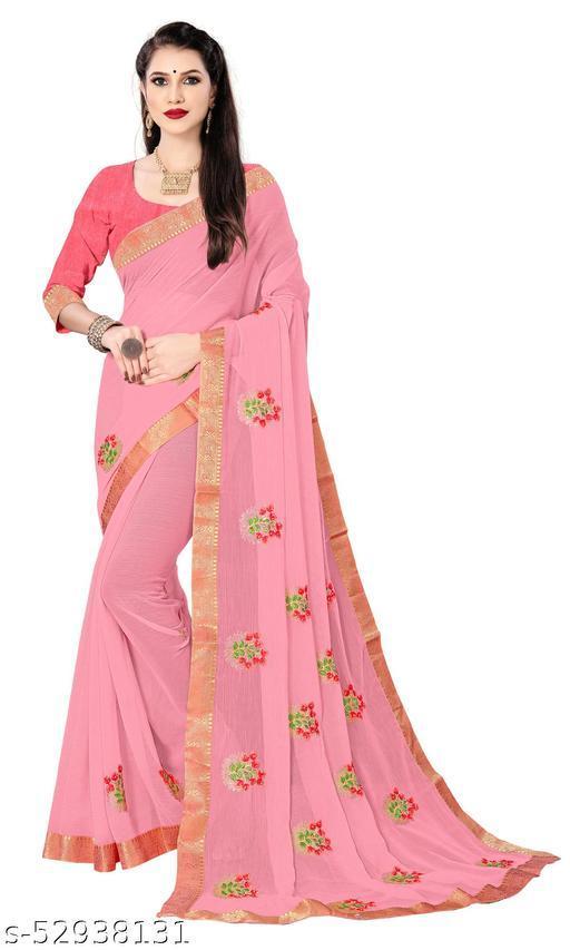 Padmalata Creation Pink  Saree With Designer Border.