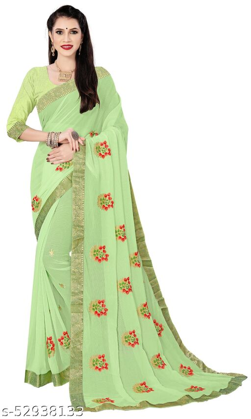 Padmalata Creation Green  Saree With Designer Border.