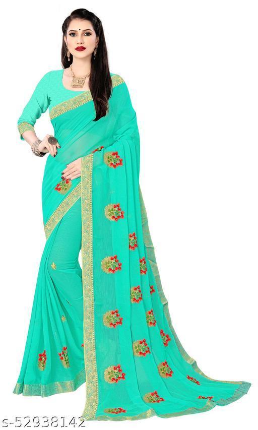 Padmalata Creation Blue  Saree With Designer Border.