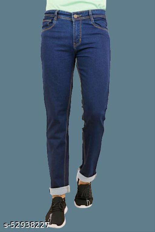 Navy Blue Men Mid Rise Regular Fit Clean Look Stretchable Denim Jeans